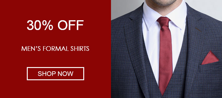 30% off men's formal shirts