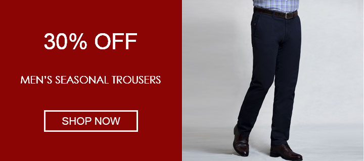30% off men's trousers