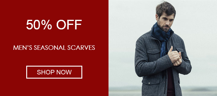 50% off men's seasonal scarves