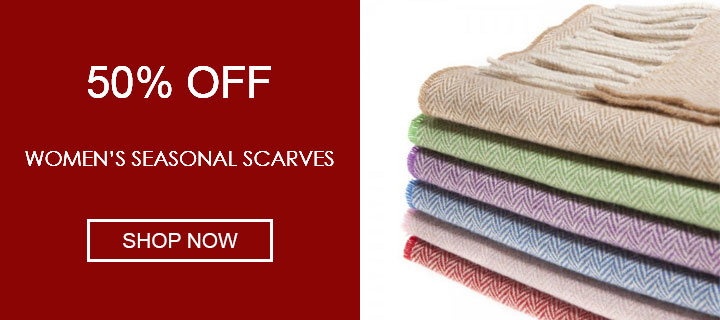 50% off women's seasonal scarves