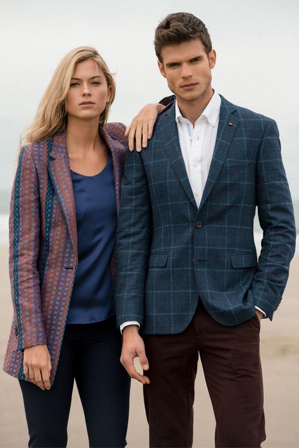 Blue Overcheck Donegal Tweed Finn Tailored Fit Blazer