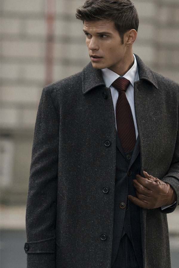 Brown Edergole Donegal Tweed Flecked Coat
