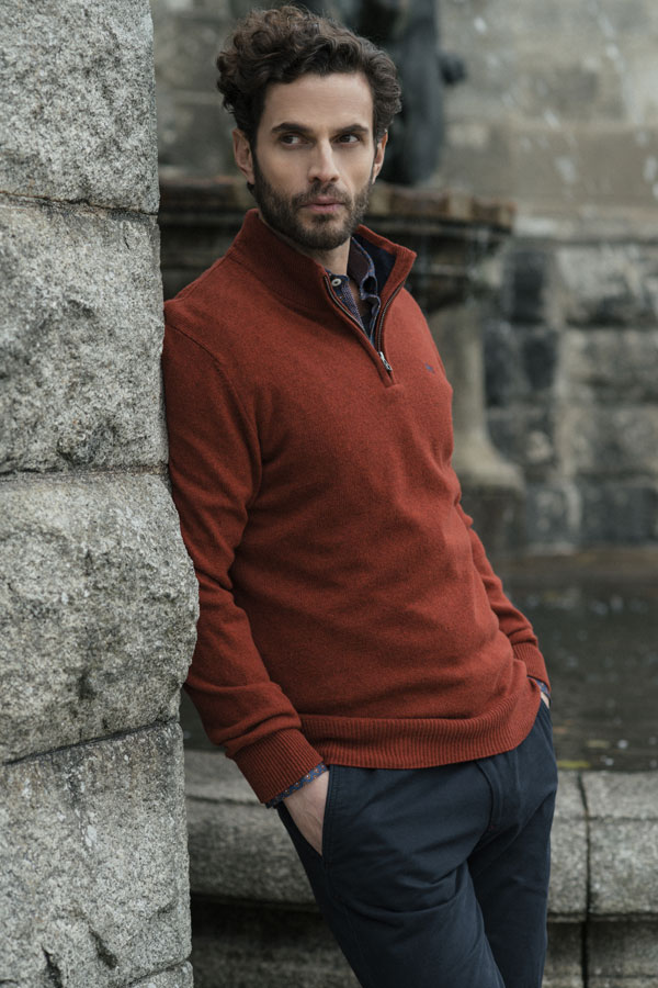 Classic Red Lambswool 1/4 Zip Sweater