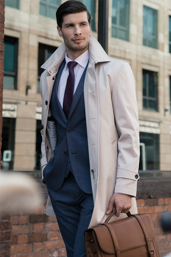 Men's Dunuisce Cream Mac Overcoat