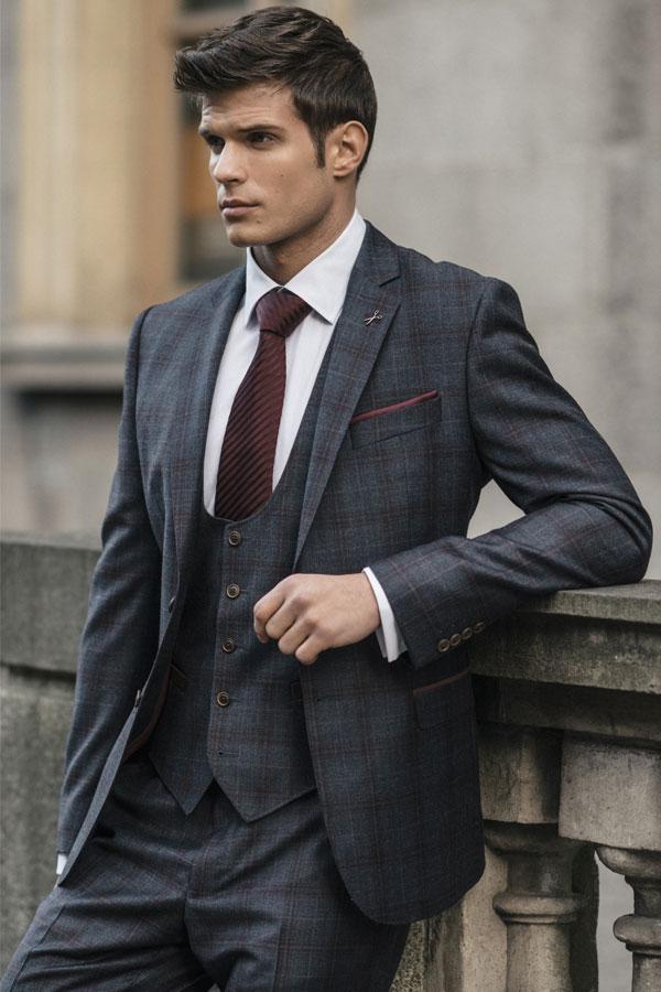 Blue/Grey & Raspberry Overcheck 3-Piece Suit