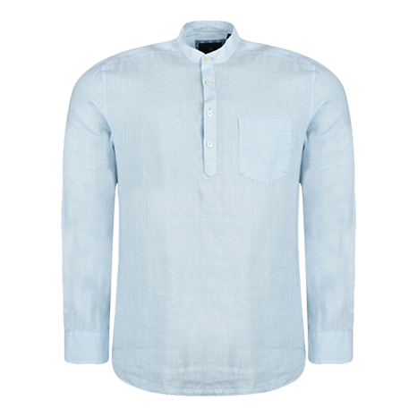 Magee 1866 Irish Made - Baby Blue Linen Corlea Grandfather Classic Fit Shirt