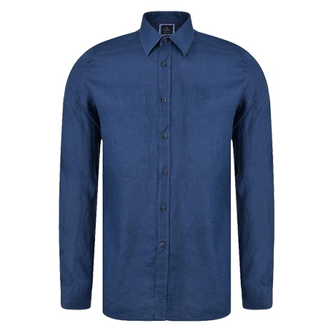 Irish Made - Indigo Linen Dunross Tailored Fit Shirt