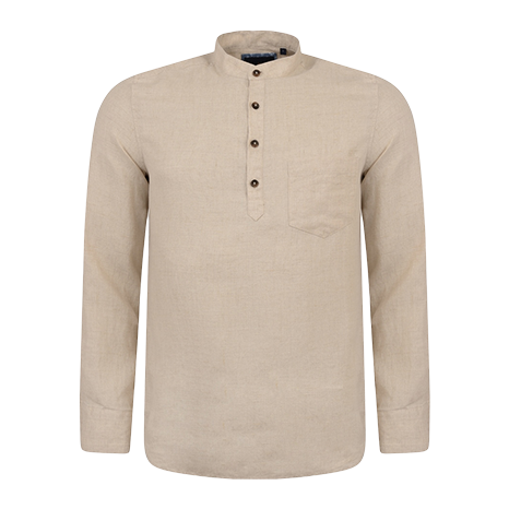 Irish Made - Oat Linen Corlea Grandfather Classic Fit Shirt