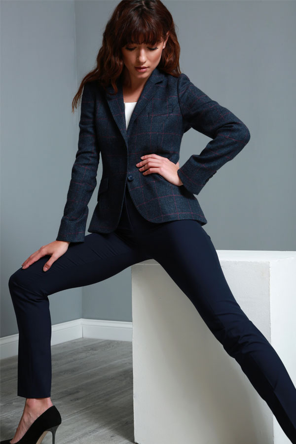 Navy & Pink Lily Country Check Donegal Tweed Blazer