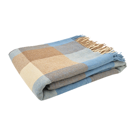 Magee 1866 Camel, Brown & Blue Patchwork Throw