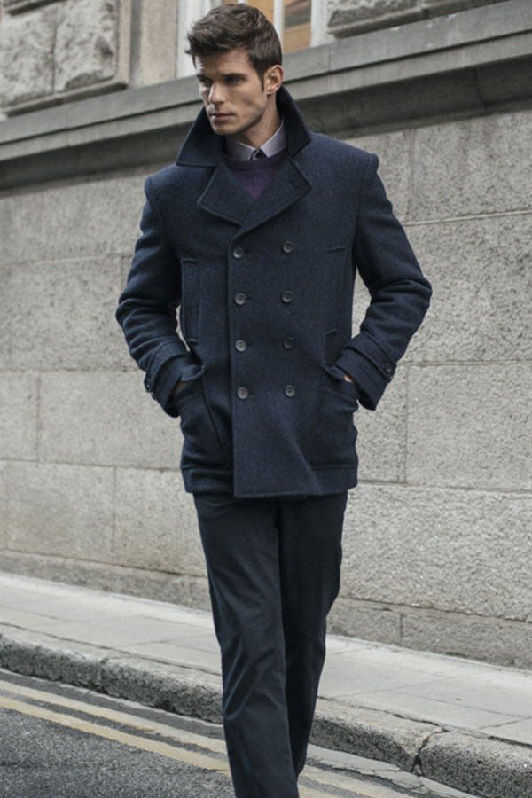 Navy Ardsbeg Double Breasted Donegal Tweed Peacoat