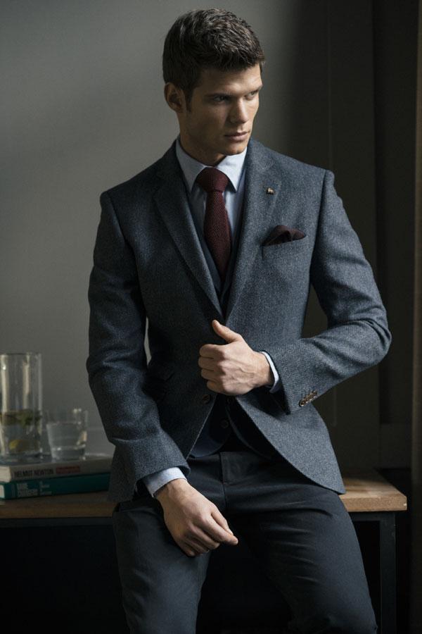 Navy & Grey Geometric Donegal Tweed Blazer