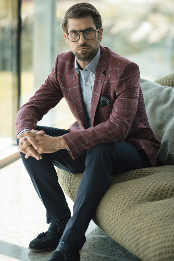 Raspberry & Blue Checked Tailored Fit Blazer