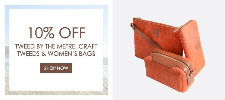 10% Off Tweed by the Metre, Craft Tweeds and Women's Handbags