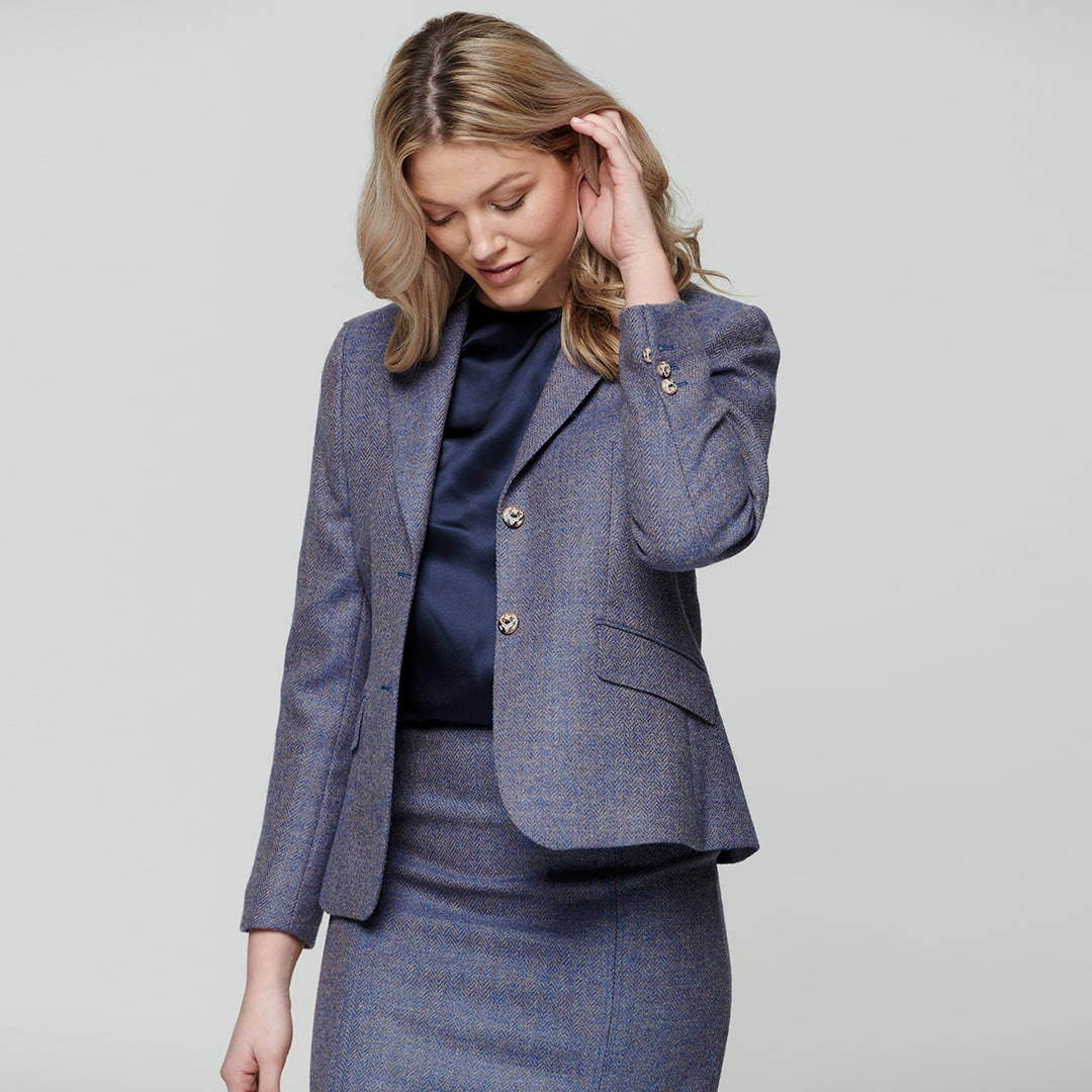 Blue Alicia Herringbone Donegal Tweed Jacket