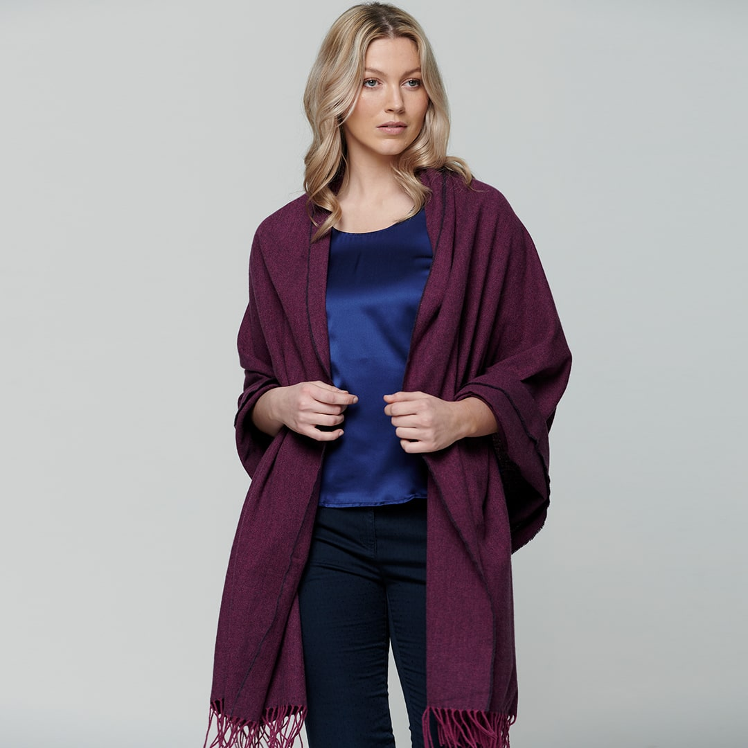 Raspberry & Purple Large Pashmina