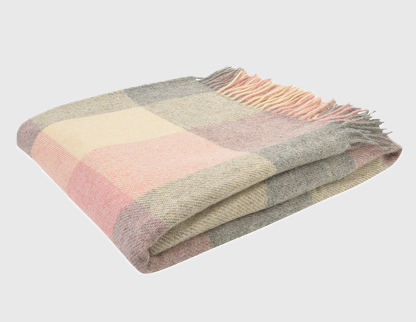 White, Grey & Pink Patchwork Throw