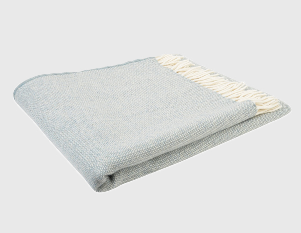 White & Blue Fancy Hopsack Throw