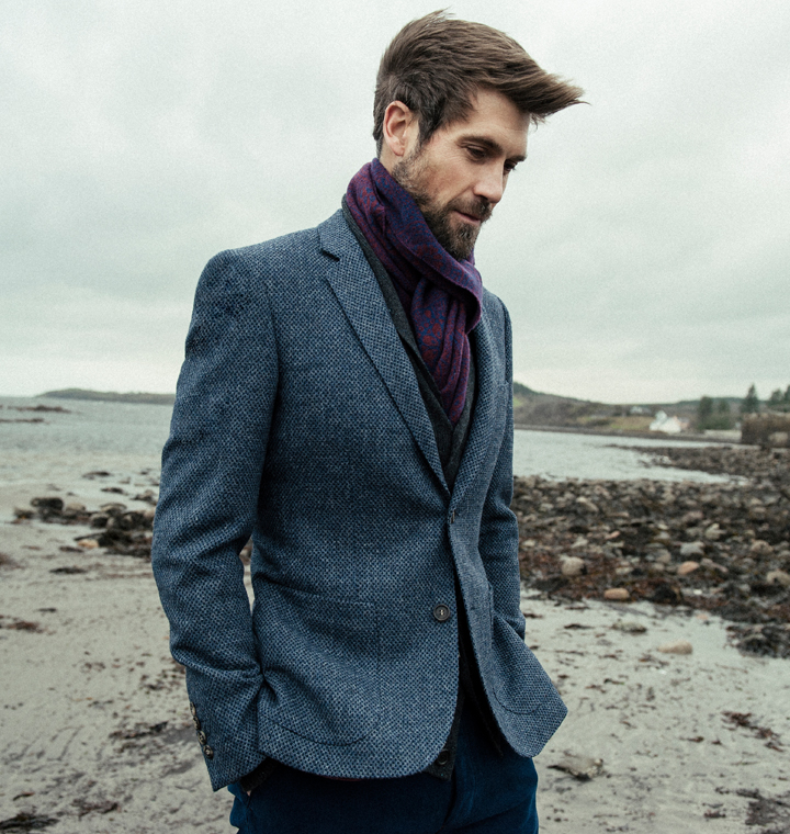 150th Collection - Grey & Navy Murvagh Half Canvas Tailored Fit Blazer