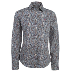 Magee 1866 Brown & Blue Liberty Print Shirt