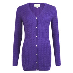 Magee 1866 Purple Cashmere Blend Julie Boyfriend Cardigan