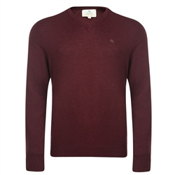 Magee Clothing Burgundy Merino Wool V-Neck Sweater