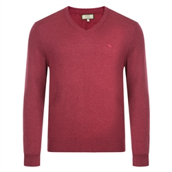 Magee Clothing Raspberry Merino Wool V-Neck Jumper