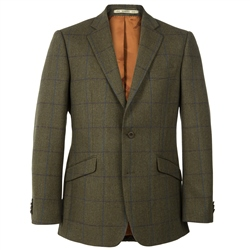 Magee Clothing Green & Blue Country Check Herringbone Tweed Blazer