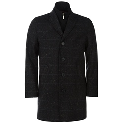 Magee Clothing Orion Black & Blue Check Tweed Overcoat