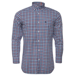 Magee Clothing Red, Blue & White Checked Button Down Shirt