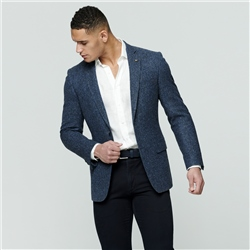 Blue & Grey Handwoven Donegal Tweed Classic Fit Blazer