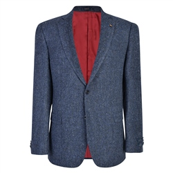 Handwoven Donegal Tweed Jacket in Blue