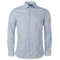 Magee Clothing White & Sky Blue Print Tailored Fit Shirt