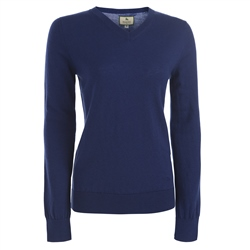 Magee Clothing Royal Blue Merino Wool V-Neck Tailored Fit Jumper