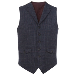 Magee Clothing Blue, Red & Camel Donegal Tweed Check Waistcoat
