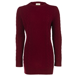 Magee 1866 Burgundy Chunky Cable Cashmere Sweater
