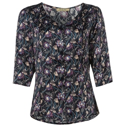 Magee 1866 Navy Rose Liberty Print Silk Tunic