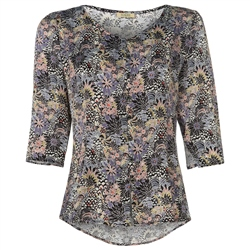 Magee Clothing Black & Lilac Rose Liberty Print Silk Tunic