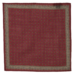 Magee Clothing Burgundy & Camel Geometric Design Linen Pocket Square