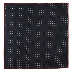 Magee Clothing Black & White Reversible Polka Dot Silk Pocket Square