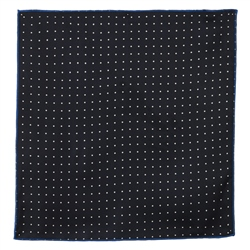Magee 1866 Navy & White Reversible Orange Silk Pocket Square
