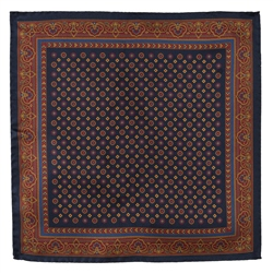 Magee Clothing Navy & Burgundy Geometric Design Silk Pocket Square