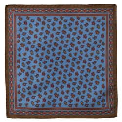 Magee Clothing Blue & Brown Teardrop Silk Pocket Square