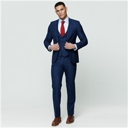 Navy Check 3-Piece Tailored Fit Suit Waistcoat