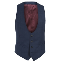 Magee 1866 Navy Check 3 Piece Tailored Fit Suit Waistcoat