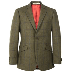 Magee 1866 Green Country Check Herringbone Tweed Blazer