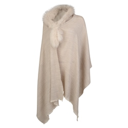 Magee 1866 Luxury Magee Oat Pashmina With Fur Trim