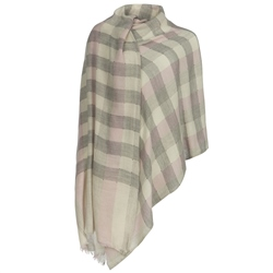 Magee 1866 White, Grey & Pink Plaid Pashmina