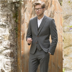 Magee Clothing Earthy Green Salt & Pepper Donegal Tweed 3-Piece Tailored Fit Suit