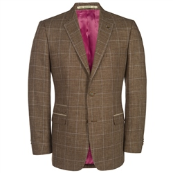 Magee Clothing Brown & Blue Checked Regular Fit Blazer